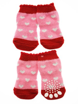 Pink / Red ''Glitter Hearts'' Pet Socks - These fun and functional doggie socks protect your dogs paws from mud, snow, ice, hot pavement, hot sand and other extreme weather. Made from 95% cotton and 5% spandex making them comfortable and secure. Each sock features a paw shaped anti-slip silica pad and help keep your house sanitary.
