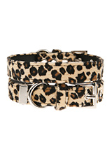 Leopard Print Fabric Collar - Our Faux Leopard collar is a contemporary animal print style and is right on trend. It is lightweight and incredibly strong. The collar has been finished with chrome detailing including the eyelets and tip of the collar. A matching harness and bandana are available to purchase separately. You can be...