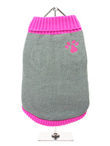 Pink Paw Sweater - Our Pink Paw Sweater is a beautiful shade of grey with contrasting pink turtle neck, pink arms and finished with a pink hem. Definitely one for the girls! Finished with an on trend high neck and elasticated sleeves to ensure a great fit from front to back.On top of all of that it will keep you dog s...