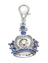 Czarina Crown Dog Collar Charm - Designed in the style of the crowns of the Imperial Russian Court this beautiful charm features 25 blue and one large diamanté crystals. Attaches to any collar's D-ring with a lobster clip. Measures approx. 1'' / 2.5cm wide.