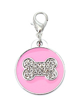 Pink Enamel / Diamante Bone Dog Collar Charm - If you are looking for bling then look no further. Our Pink Enamel / Diamante Bone Dog Collar Charm is encrusted with diamantes set against a beautiful pink enamel background. It attaches to any collar's D-ring with a lobster clip. The perfect accessory to add bling to your dog's collar.
