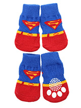 Superdog Pet Socks - These fun and functional doggie socks protect your dogs paws from mud, snow, ice, hot pavement, hot sand and other extreme weather. Made from 95% cotton and 5% spandex making them comfortable and secure. Each sock features a paw shaped anti-slip silica pad and help keep your house sanitary. (set of...