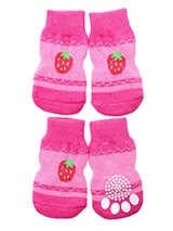 Strawberry Glitter Pet Socks - These fun and functional doggie socks protect your dogs paws from mud, snow, ice, hot pavement, hot sand and other extreme weather. Made from 95% cotton and 5% spandex making them comfortable and secure. Each sock features a paw shaped anti-slip silica pad and help keep your house sanitary. (set of...