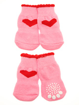 Pink Hearts Pet Socks - These fun and functional doggie socks protect your dogs paws from mud, snow, ice, hot pavement, hot sand and other extreme weather. Made from 95% cotton and 5% spandex making them comfortable and secure. Each sock features a paw shaped anti-slip silica pad and help keep your house sanitary. (set of...